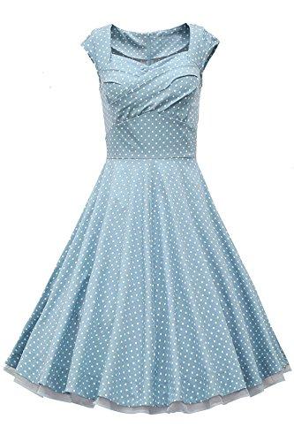 ACHICGIRL Elegant Solid Color Cap Sleeve Ruched Sweetheart Neckline Swing Midi Dress Light Blue