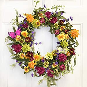 Floral Home Decor Colorful Dahlia Wildflower Wreath with Butterfly WR5015 45