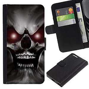 KLONGSHOP / Tirón de la caja Cartera de cuero con ranuras para tarjetas - Skull Red Eyes Devil Evil Villain Monster - Apple iPhone 6 PLUS 5.5
