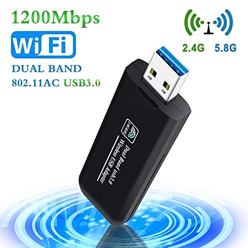 PiAEK Adaptador WiFi USB 1200Mbps 802.11AC Dual Band 2.4GHz/5.8GHz Receptor WiFi USB 3.0 para PC Portatiles de Escritorio Compatible con Windows7/8/10/Vista/Mac Os X/Linux