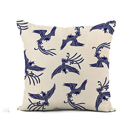 Awowee Flax Throw Pillow Cover Bird Oriental Phoenix Pattern Asia Animal Artistic Classic Creature 20x20 Inches Pillowcase Home Decor Square Cotton Linen Pillow Case Cushion Cover
