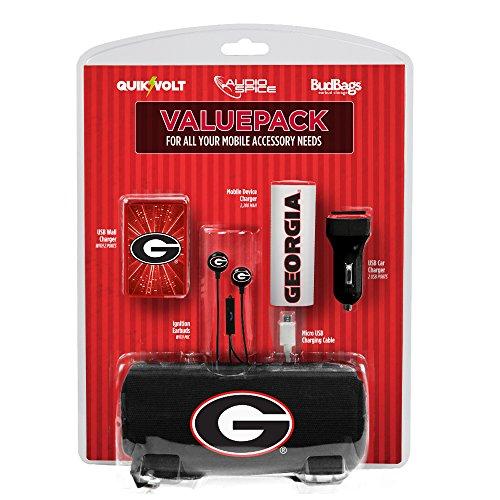 QuikVolt NCAA Georgia Bulldogs Mobile Accessory Value Pack, White