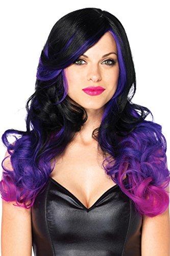 [Leg Avenue Costumes Allure Multi Color Long Wavy Wig, Black/Purple, One Size] (Witch Wigs)