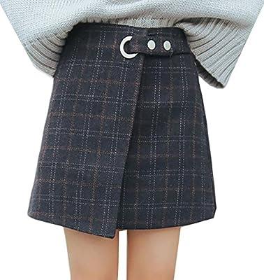 Pandapang Women's Retro A Line Plaid High Waist Wool Blend Mini Skirt