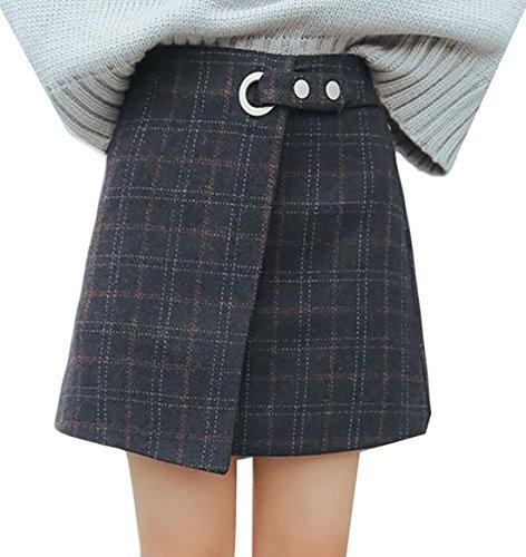 Embroidered Wool Skirt - Pandapang Women's Retro A Line Plaid High Waist Wool Blend Mini Skirt Dark Blue Small