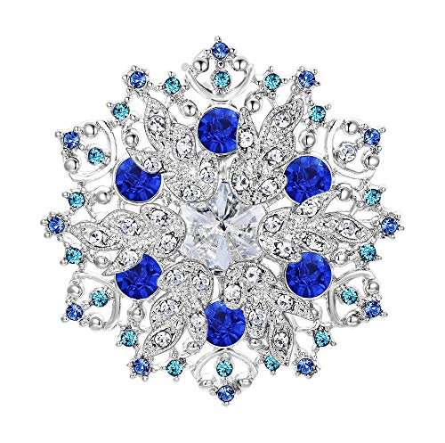 EVER FAITH Austrian Crystal Winter Snowflake Corsage Brooch Pin Sapphire Color Blue