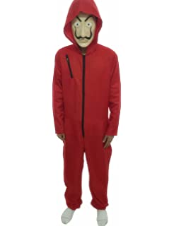 Angelaicos Unisex Dali Mask Red Costume for La Casa De Papel Coverall Jumpsuits