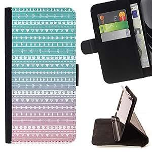For Sony Xperia Z3 Compact / Z3 Mini (Not Z3) Case , Rosa Blanco Chevron Nativo Patrón- la tarjeta de Crédito Slots PU Funda de cuero Monedero caso cubierta de piel