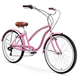 Firmstrong Chief Lady 7-Speed Beach Cruiser Bicycle, 26-Inch, Pink