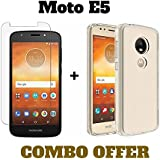 M.G.R.J® Transparent Back Cover and Tempered Glass for Moto E5 (Combo Pack)