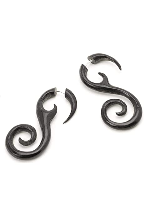 -  4mm  6 Gauged Recycled Horn Horn Hanging Tribal Earrings Handcrafted Organic Earring *B005 Pair