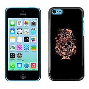 Caucho caso de Shell duro de la cubierta de accesorios de protección BY RAYDREAMMM - iPhone 5C - Bandera pirata del cráneo de