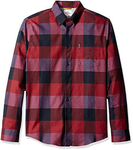 ben-sherman-mens-long-sleeve-textured-oversized-gingham-button-down-shirt-ruby-red-medium