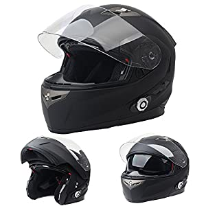 FreedConn Bluetooth Motorcycle Helmets Integrated Modular Flip up Dual Visors Full Face Built-in Bluetooth Mp3 Intercom headset Communication Range 500M (XL,Matte Black)