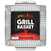 #LightningDeal Grillaholics Grill Basket - Large Grilling Basket for More Vegetables - Heavy Duty Stainless Steel Grilling Accessories Built to Last - Perfect Vegetable Grill Basket for All Grills and Veggies
