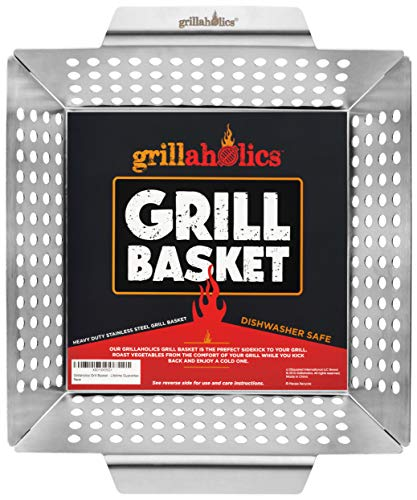 Grillaholics Grill Basket - Large Grilling Basket for More Vegetables - Heavy Duty Stainless Steel Grilling Accessories Built to Last - Perfect Vegetable Grill Basket for All Grills and Veggies (Grilling Corn On The Cob On Gas Grill)