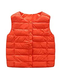QJH Girls Windproof Outwear Quilted Down Cotton Vest