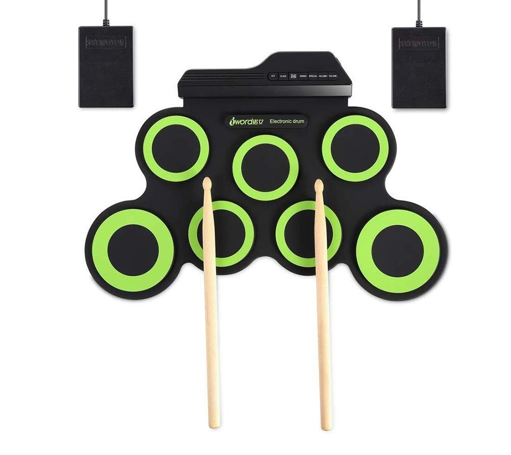 Electronic drum Set,Portable Professional Drum USB Electronic Roll Up Drum Pad Kit Silicon Foldable Send Drum Sticks and Pedals Suitable (Color : Green)