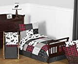 Sweet Jojo Designs Grey, Black and Red Woodland Plaid and Arrow Rustic Patch Boy Toddler Kid Childrens Bedding Set - 5 pieces Comforter, Sham and Sheets - Flannel Moose Gray