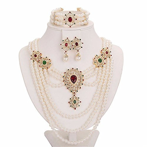 Pearl Set Oval - Moochi 18K Gold Plated Simulated Pearl Beads Red Oval Zircon Necklace Earrings Bracelet Jewelry Set