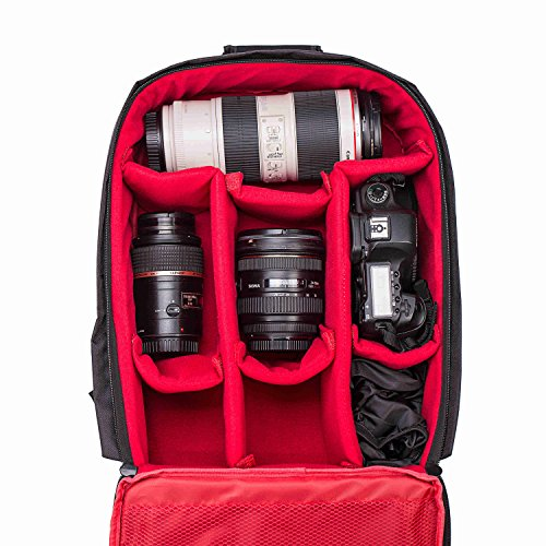 "Camera Bag Waterproof Camera Backpack 16"" X 13"" X 5"" by G-raphy with Tripod Holder for Cameras,Lenses, Flashes and Other Accessories"