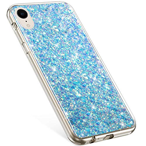Compatible With iPhone XR Case,PHEZEN Girls Women Bling Shiny Glitter Sparkle TPU Case Flexible Rubber Silicone Case Full Body Protective Phone Case Cover For iPhone XR, Blue