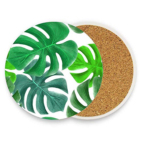 Absorbent Coasters For Drinks - Tropical Greens Leaves Design 1 Pack Ceramic Stones with Cork Back, Home Decor Housewarming Gift