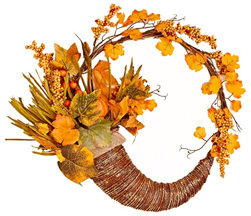 Worth Imports Fall Cornucopia Wreath with Long Grasses, Berries, Pumpkins & Leaves, 18