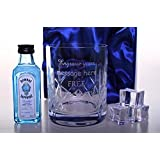 Engraved/Personalised Crystal Glass & Bombay Sapphire Gin Miniature in Silk Gift Box For Birthday/Christmas/Mum/Dad/Nanny/Grandad