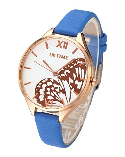 Top Plaza Women Fashion Rose Gold Tone Quartz Analog Watch Thin PU Leather Strap Butterfly Wings Pattern Roman Numerals 3ATM Waterproof Casual Wrist Watch(Blue) ()
