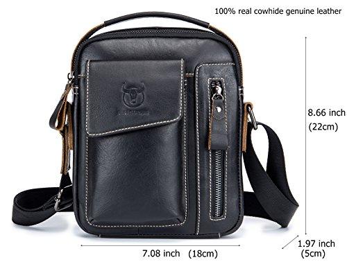 Genuine Leather Men Bags Small Shoulder Crossbody Bag for Men Everyday Casual Travel Messenger Bag Handbag (black) by BULLCAPTAIN (Image #4)