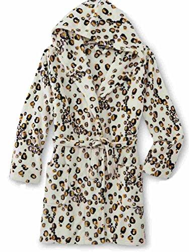 Womens Plush Ivory Cheetah Print Hooded Bath Robe Housecoat Bathrobe Small