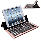Wireless Keyboard,Genjia Premium Portable Ultra-Slim Aluminum Alloy Foldable Buletooth 3.0 Keyboard with Folding Kickstand,Cell Phone & Tablet Holder for iOS,Android,Windows (Rose Gold)