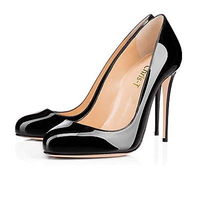 6f9176d9a13de Amazon.com | Chris-T Womens Formal Round Toes Basic Shoes 10cm High ...