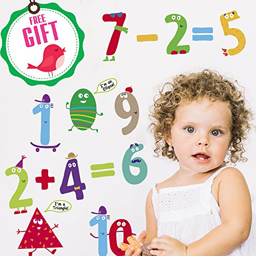 Numbers & Shapes Learning Wall Decals for Kids - Educational Math Classroom Stickers [>30 Cute Art clings] with Free Bird -