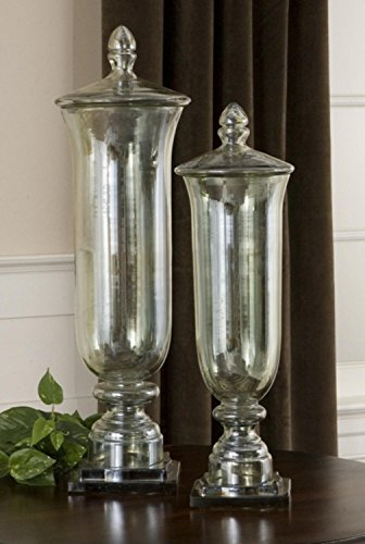 Diva At Home Set of 2 Elegant Transparent Pale Green Glass Bottle Lid Containers/Vases 26