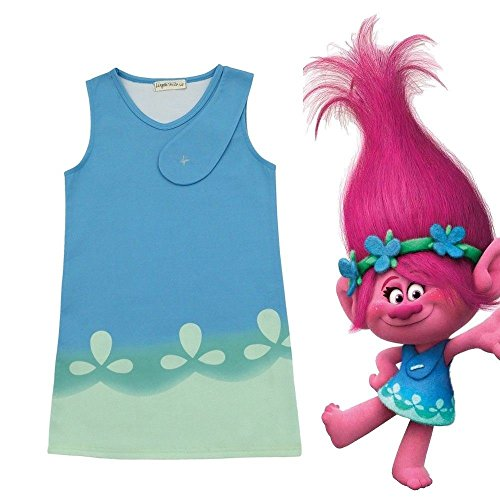 Halloween Troll Costumes (Trolls Poppy Cosplay Costumes Halloween Clothes Kids Fancy Dress (5-6 years(Tag size 130)))