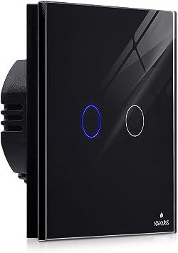Navaris Interruptor de luz táctil para pared - Caja de cristal con ...