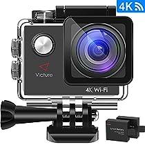 NUOVA VERSIONE Victure Action Cam 4K WIFI Ultra HD Videocamera Sportiva Impermeabile Videocamera con Timelapse, Slow Motion 170° Grandangolare 2.0 Pollici due 1050mAh Batterie e Kit Accessori (Nero)