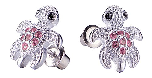 Baby Turtle Earrings - Girls Screwback Pink Earrings, Turtle Cubic Zirconia, Pink Turtle Screw Back Earrings for Girls with Stainless Steel Post (Pink)