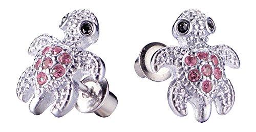 Girls Screwback Pink Earrings, Turtle Cubic Zirconia, Pink Turtle Screw Back Earrings for Girls with Stainless Steel Post (Pink) (Childrens Turtle Earrings)