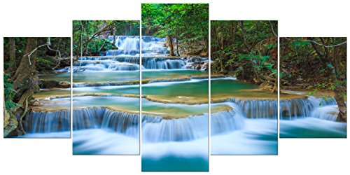 Wieco Art - Peaceful Waterfall Extra Large Modern 5 Panels Gallery Wrapped Artwork Giclee Canvas Prints Green Landscape Pictures Paintings...  wall art xl | XL MODERN CANVAS WALL ART Painting-MOSAICA Limited Edition Hand Embellished Giclee on canvas 51hLDS4IGUL