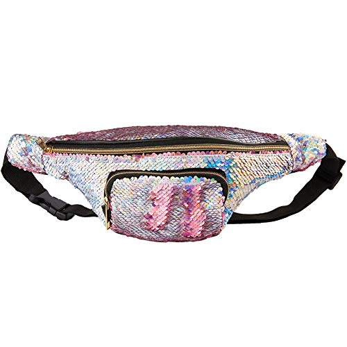 (Play Tailor Mermaid Sequin Fanny Pack for Women Flip Sequin Waist Bag Bum Bags with PU Leather, Quality Enhanced Edition (Rose Gold and Silver))