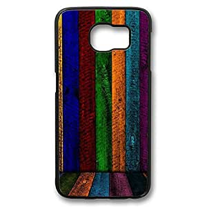iCustomonline Rainbow Wood Case for Samsung Galaxy S6 Protective Hard Black