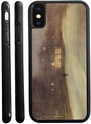 Whistler Snow - Rikki Knight James Abbot McNeill Whistler Nocturne Snow in Chelsea Design iPhone X hybrid TPU Case Cover (Black Rubber with front bumper protection) for iphone X