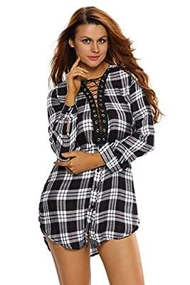 Tiksawon Womens Sexy Lace-up V Neck Long Sleeve Plaid Shirt Dress