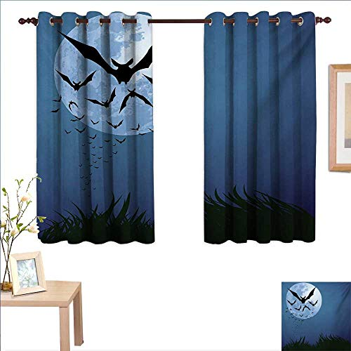 Halloween Thermal Insulating Blackout Curtain A Cloud of Bats Flying Through The Night with a Full Moon Fall Season 63