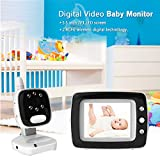 Digital Video Baby Monitor with Camera and Audio, 3.5 Inch LCD Screen, Infrared Night Vision Soothing, Lullabies, Temperature Monitoring and Two-Way Talk Video Monitor