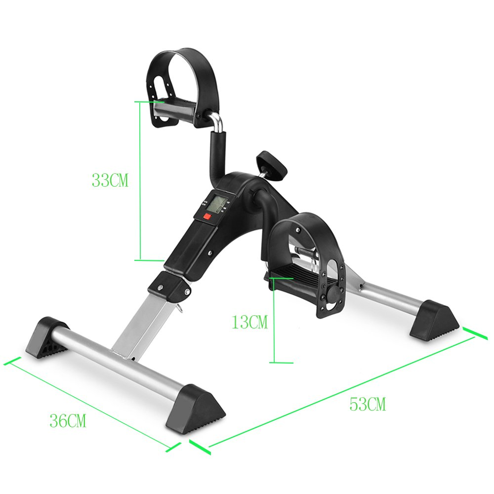 Pedal Exerciser Mini Desk Cycle Exercise Bike with LCD Monitor Foldable (black/grey)