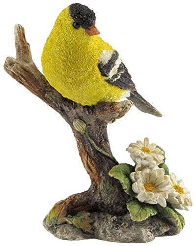 Goldfinch Bird Figurine - 4.5 Inch Goldfinch Bird on Branch Decorative Statue Figurine, Yellow
